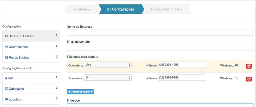 Configuração de dados de contato