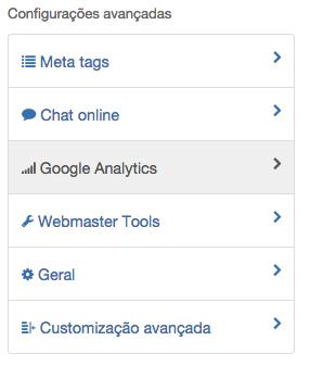 Analytics tutorial menu