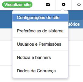 configurações do site